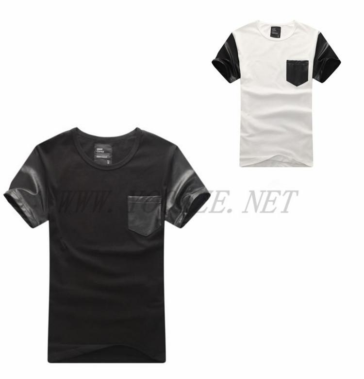 Plain custom t shirt leather sleeves view custom t shirt for Custom t shirt with pocket