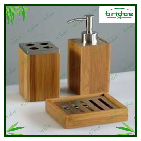 Hot sale nature bamboo wooden simply clasic ceramic for Bath accessories sale