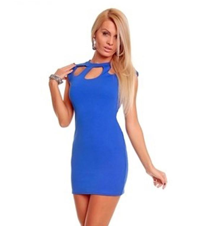 Новый женский сексуальный полый slim Клубная одежда вечерняя партия платье синий kimisohand