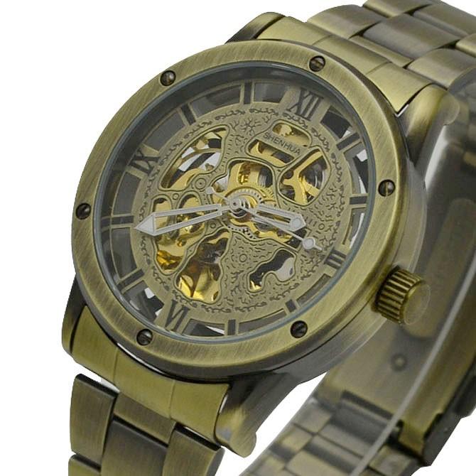 Мужские часы GOER Skeleton Gold - priceoffcomua