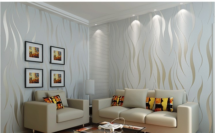 Modern papel de parede embossed 3d wallpaper living room for Living room wallpaper feature wall