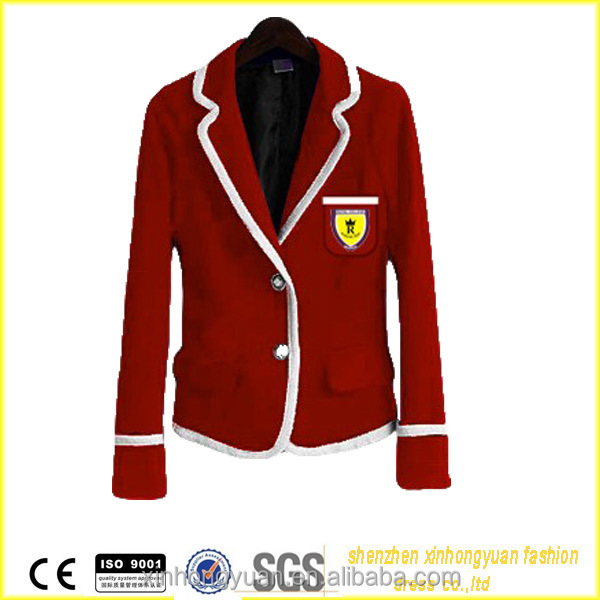 New Arrival Cvc Cotton Made Logo Embroidered High School Uniforms BlazerNew Design Student ...