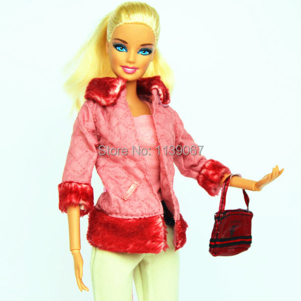 (Mix delivery) Handmade Fits Snowsuit Winter Gown Maple Pink Plush Coat Pants Bag Set Outfit Clothes For Barbie Kurhn Doll