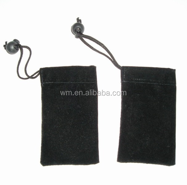 Hot sell Velvet material mobile phone pouch bag with string