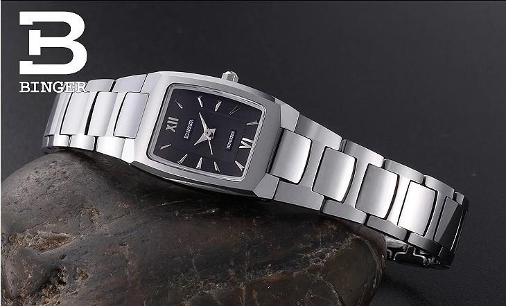 2016 новый бренд Бингер вольфрама стали Коммерческий часы дамы ультра тонкий винтаж площади наручные часы элегантный кварц платье часы