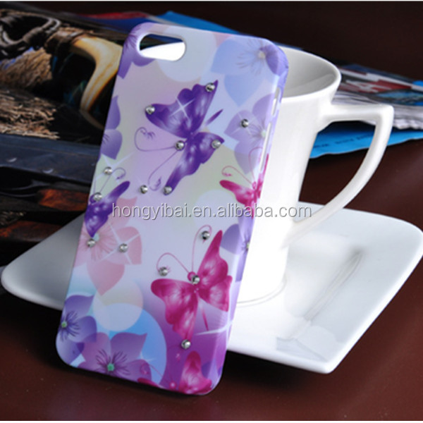 2014 Printing phone case with diamond for iphone 5