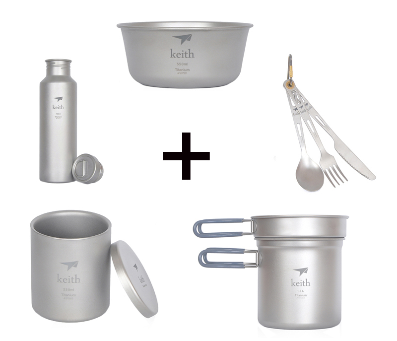 Buy Titanium Bottle Sport Cup Outdoor Pot  and pan Camping Bowl Cutlery Picnic Spoon Fork Knife Ti3210 cheap