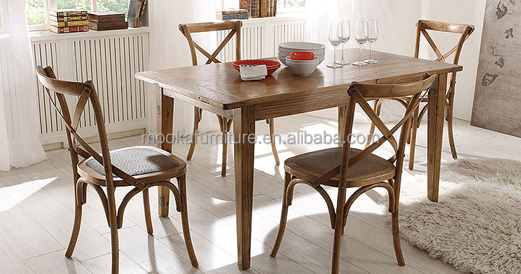 Espalda cruzada de madera silla de comedor silla de madera antigua ...