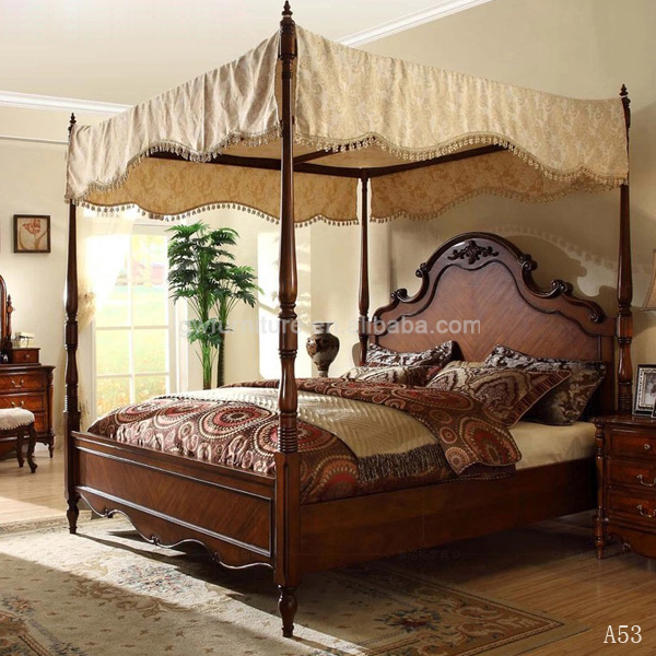 Carving Skill Antique Bedroom Furniture American Classic Bedroom Set