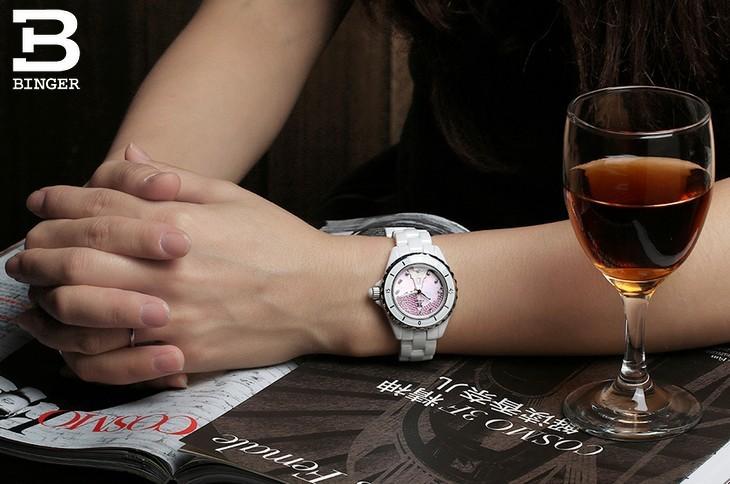 Оптовая Фантазии Бингер Керамика Часы Женщины Элегантный Розовый Shell Фарфор Часы Bright Crystal Carving Эйфелева Башня Наручные Часы
