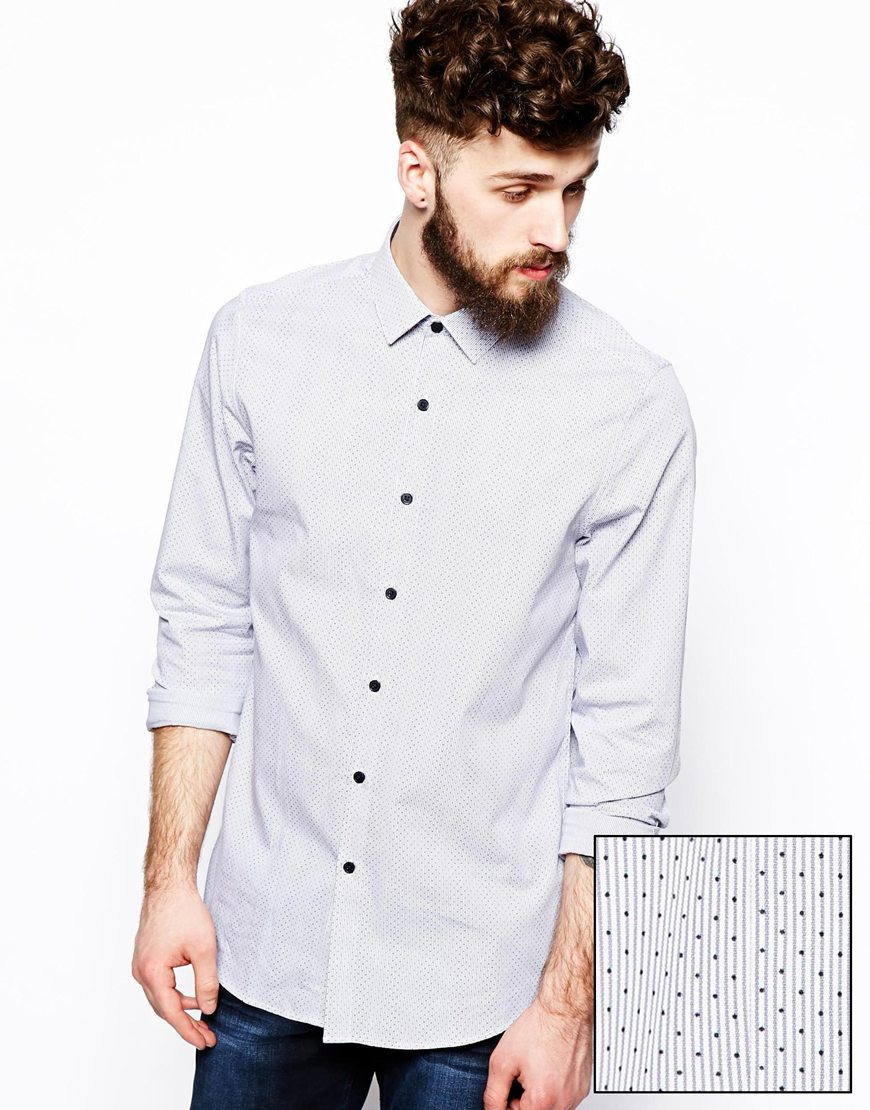 Smart shirt in long sleeve with spot print cotton fabric for Long dress shirts mens