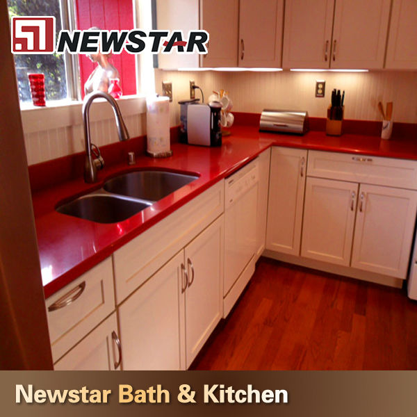 Red color quartz countertop polish buy quartz countertop for Kitchen and bath showrooms colorado springs