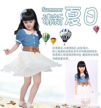 новые моды детской одежды хлопок джинсовые платья девушка платье ребенка старинные принцесса платье с поясом