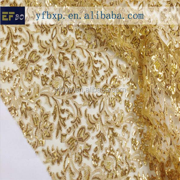 Gold lace fabric with sequin nigerian lace for evening dress