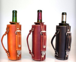 High quality Vegetable tanned leather wine carrier
