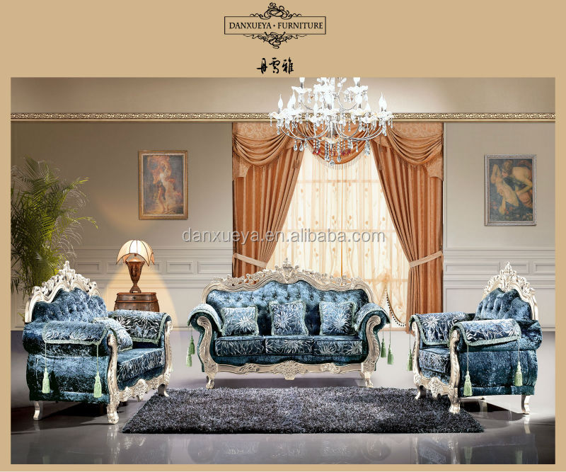 living room furniture classical solid wood frame fabric sofa c - Model Ede Salon Moderne