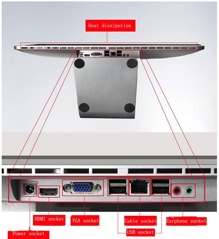 2015 China 19.5 inch Cheap Wifi OEM LED i7 All In One Pc Computer