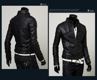 Мужские изделия из кожи и замши paragraph zipper male stand collar motorcycle leather clothing Man leather jacket M-XXL ZL482