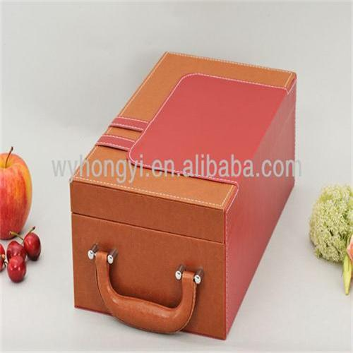 Luxury PU wine packaging gift wine box handmade leather wine carrier