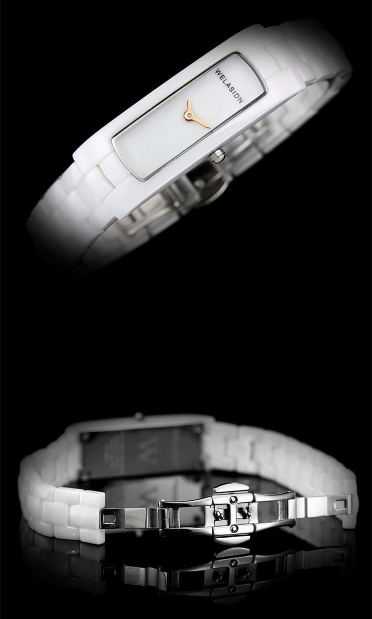 Elegant Lady Rectangle Full Ceramic Bracelet Watches Vogue Women 2 Hands Quartz Wrist watch Japan Movt Dress Clock  Relojes NW88