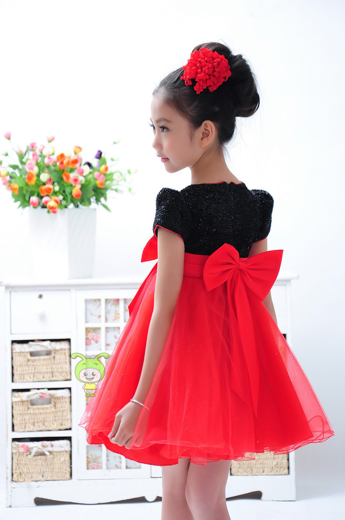Kids beautiful black and red prom dress christmas party dresses