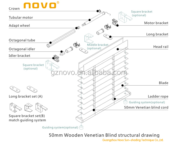 motor shaft of inbuilt receiver electric Venetian Blinds for Window blinds from Guangzhou NOVO