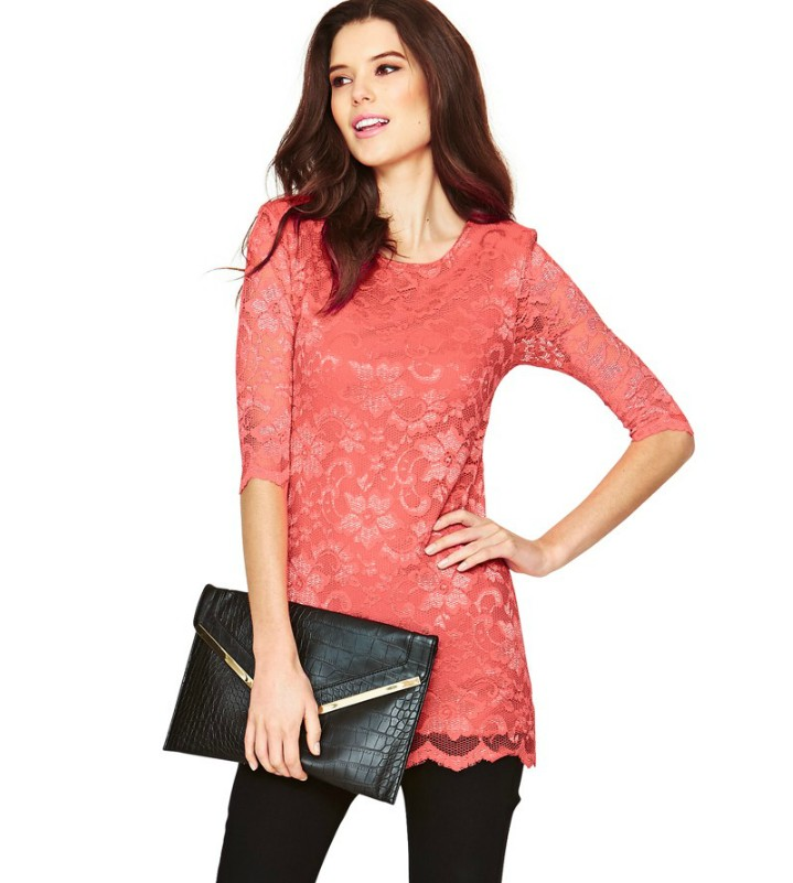 2014 most fashionable long sleeve lace ladies tops latest
