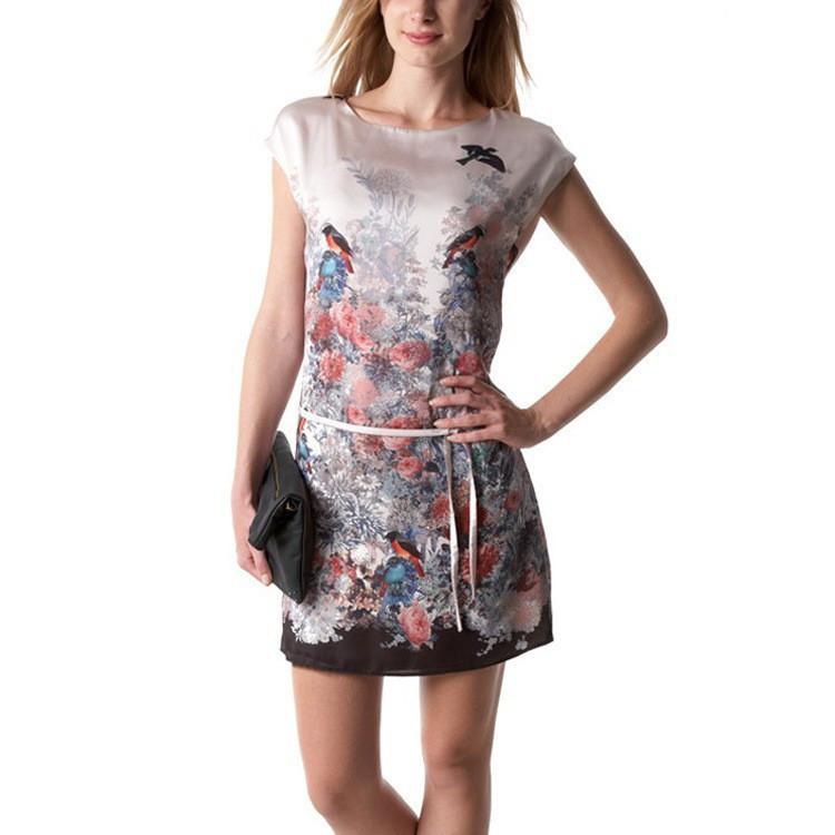 Новый Евро стиль женщины платья весна мода vestidos женщин короткие рукава цветочные печатных онлайн случайные платье птица