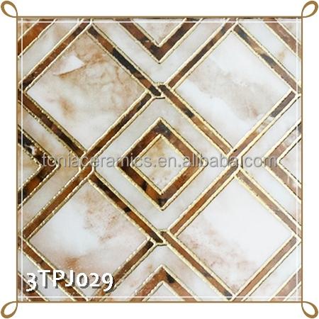 Tonia 300x300 Checker Design Polished Golden Decorative Ceramic Wall ...