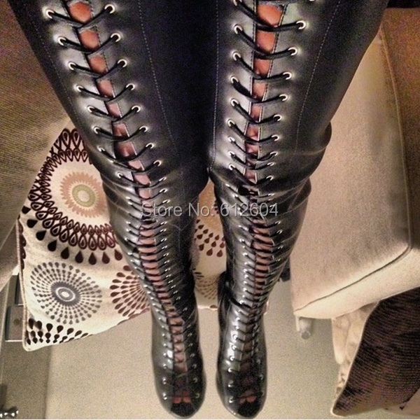 wholesale boasting black leather lace up thigh high