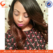 Side parting malaysian human hair wigs ombre, natural look bleached knots lace wig