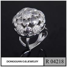 Dubai Rhodium Plating Mirco Pave Silver Rings, Silver Jewelry