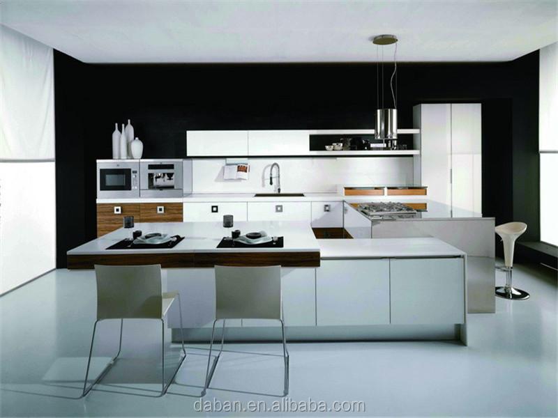Lacquer model design aluminium banding kitchen cabinet for Model kitchen set aluminium