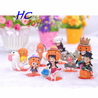 Hot Anime Sets of 8pcs ONE PIECE Q Version Action Figures Luffy Zoro Chopper Robin Nami Sanji in Pumpkin Costume