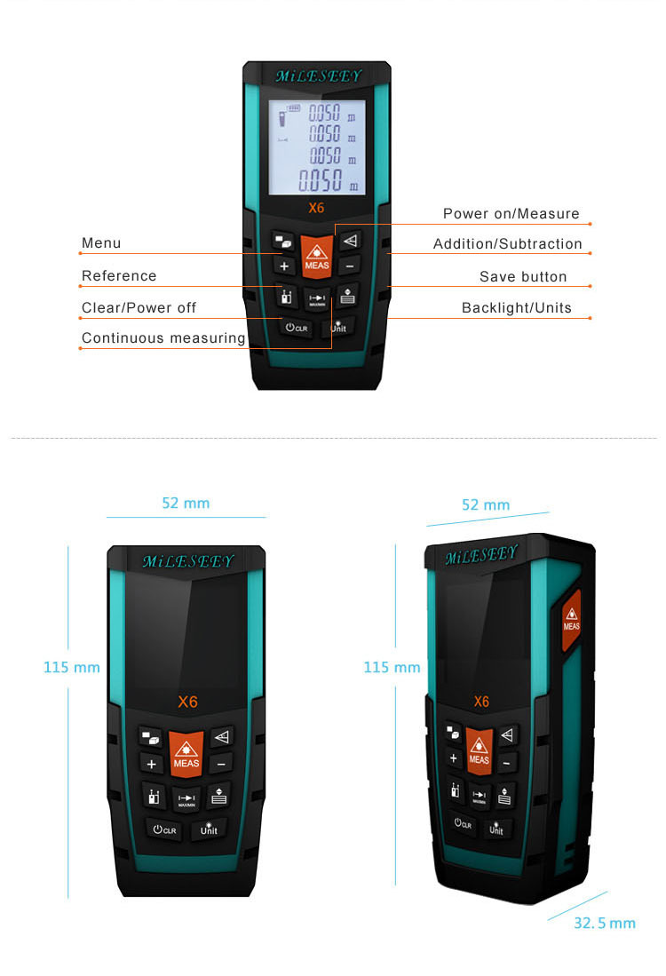 Chine pas cher mileseey x6 100 m mini num rique multim tre outils telemetre laser m tre de - Telemetre laser pas cher ...