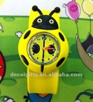 Hot sales promotion Ladybird slap on snap watch cartoon watch silicone rubber watch for kids
