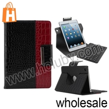 Manufacturer Wholesale Detachable Rotary Crocodile Pattern Stand Wireless Bluetooth Keyboard Magnetic Leather Case for iPad Mini
