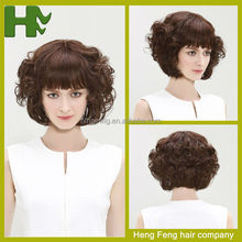 Hairstyle Synthetic Wigs Short Hair Body Wave for Young Women Wigs with Bangs