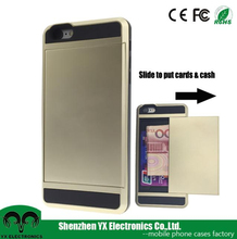 wholesale cell phone case card holder for iphone 6 hard case gold