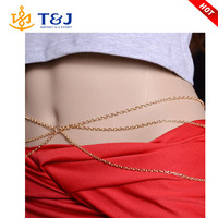 >>>2015 in stock gold plated long chain sexy lady body waist chain for women