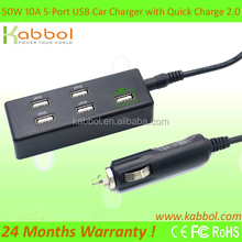 50W 5 ports Quick Charge 2.0 USB Car Charger Adapter - Quick Charger at 12V/1.5A; 9V/2A; 5V/2A