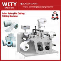 Blank label slitting and rotary die cutting machine