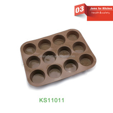 100% Food Grade Silicone 12 Cup Cake Mould Muffin Mould