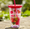 2015 Hot selling 16oz double wall plastic straw cups with printing