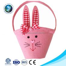 2015 Wholesale cheap cute easter rabbit basket fashion handmade pink felt easter basket