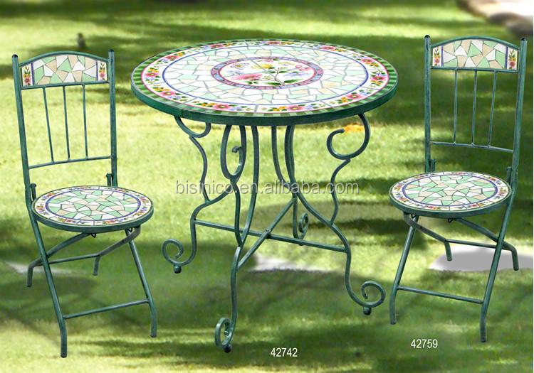 Fer forg table de jardin et chaises c ramique mosa que for Table exterieur ceramique