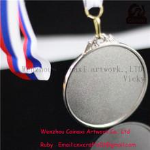 De alta calidad de plata medalla/premio medalla de la cinta con/plata medalla en blanco