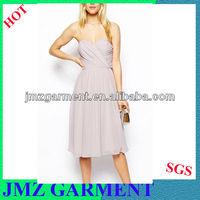 simple chiffon evening dress for ladies, pleated dress