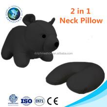 Fashion custom 2 in 1 u shape pillow cushion wholesale cute soft bear animal neck pillow
