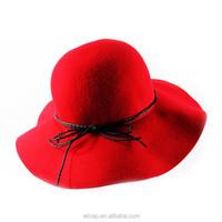 2015Wholesale Women Winter Wool Red Flower Knitted Beanie Hat/Bucket Hat
